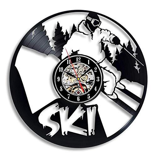 Ski Sneeuw Wandklok Modern Design Vintage Vinyl Record Wandklok Snowboarden Ophangen Horloge Home Decor 12 Inch Geschenken Voor Skier