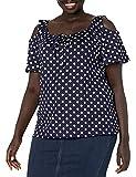 Star Vixen Women's Plus-Size Short Sleeve Cold-Shoulder Peasant, Navy White Dot, 3X