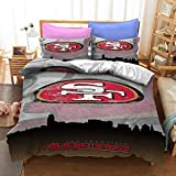 Vici Gowner San Francisco American Football Duvet Cover 49ers Sport Theme Rugby Team Logo Bedding Sets Comforter Cover for Kids Teen Boys Girls 1 Duvet Cover with 2 Pillowcases Queen Size