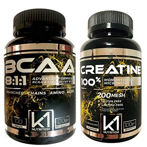BCAA 8:1:1 100 cpr. K1 Nutrition Integratore di Aminoacidi Ramificati 811 con Vitamina b1 e b6 Advanced Leucine Formula - GLUTEN FREE - SENZA LATTOSIO - NON OGM - (100 COMPRESSE + 100 gr CREATINA)