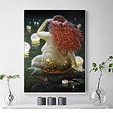 ganlanshu Pintura sin Marco Ganador del Arte Moderno Impresiones en Lienzo Decorar Sala de Estar Cartel nórdico Pintura al óleo sirenaZGQ5486 40X60cm