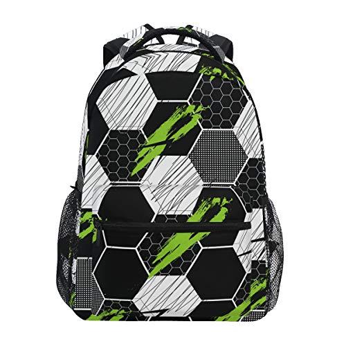 Mochilas escolares para niñas y niños abstractas líneas de fútbol pistas de rayas personalizadas Bookbag senderismo camping mochila