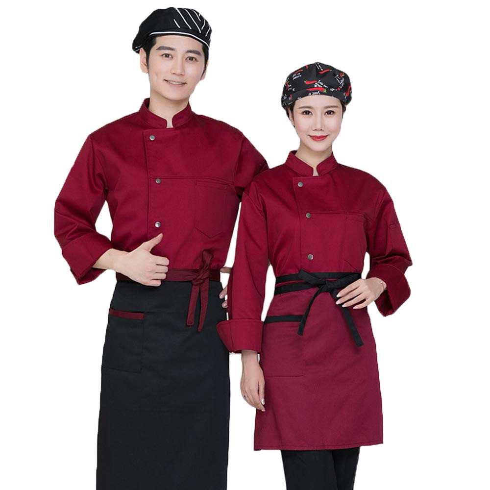 Camisa De Cocinero Cocina Uniforme Manga Larga Colores Múltiples Algodón Disfraz De Chef Protección Del Medio Ambiente Sin Desvanecimiento,Rojo,M: Amazon.es: Hogar