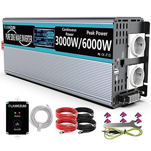 FLAMEZUM 3000W Reiner Sinus Spannungswandler 12V auf 230V Wechselrichter Power Inverter Konverter mit Fernbedienung LED-Anzeige & 2 EU AC Steckdosen & 2 USB Port für Auto, Wohnwagen, Boot, Camping