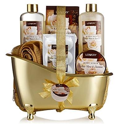 Mother's Day Home Spa Gift Basket, 13 Piece Bath & Body Set For Men & Women, White Rose & Jasmine Fragrance with Shower Gel, Bubble Bath, Body Scrub, Salts, 6 Bath Bombs, Pouf, Cosmetic Bag & Gold Tub