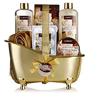 Practical Spa Gift Set Complete With Cosmetic Pouch And Gold Tub Decor Storage