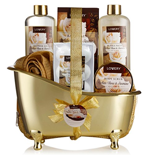 Home Spa Gift Basket, Luxury 13 Piece Bath & Body Set For Men & Women, White Rose & Jasmine Fragrance - Contains Shower Gel, Bubble Bath, Body Scrub, Salts, 6 Bath Bombs, Pouf, Cosmetic Bag & Gold Tub