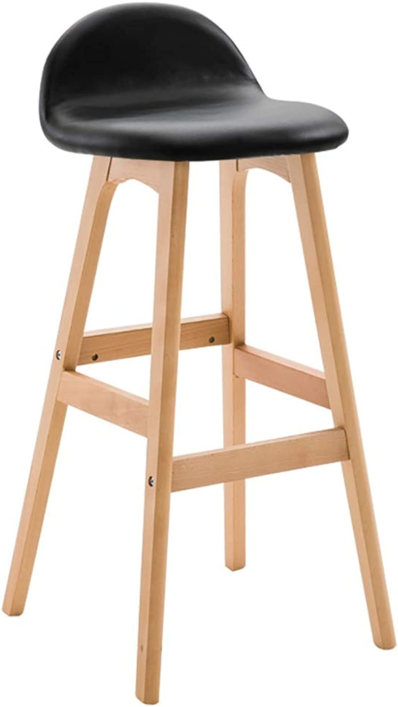 ZYANZ Minimalist Design Bar Chair, Nordic Backrest Dining Stool, Ergonomic Design, Suitable for Kitchen, Counter, Café, Pub (color   Black, Size   74cm)