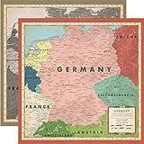 Carta Bella Paper Company Germany Map paper, sepia, grey, green, navy, red, cream