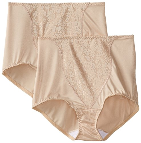 Bali Women's Shapewear Double Support Coordinate Brief with Lace Tummy Panel Light Control 2-Pack, Soft Taupe, X-Large