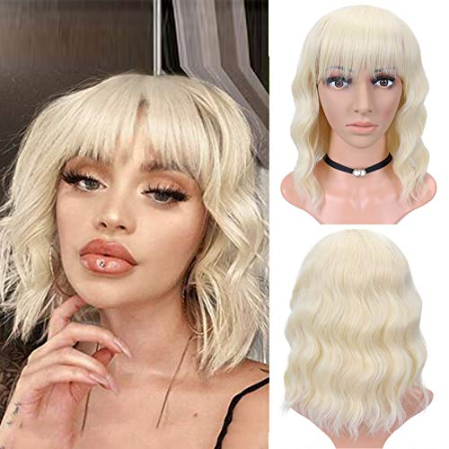 Short Wavy Bob Wig for Black Women Curly Bob Wigs with Bangs Bleach Blonde Body Wave Bob Wig None Lace Front Synthetic Heat Resistant Wig for Cosplay Party Costume Daily Use (12', 613)