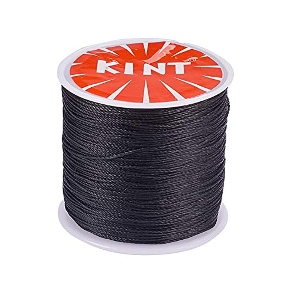 PandaHall Elite 1 Roll 0.5mm Round Waxed Cotton Cord Thread Beading String 116 Yards per Roll Spool for Jewelry Making and Macrame Supplies Black