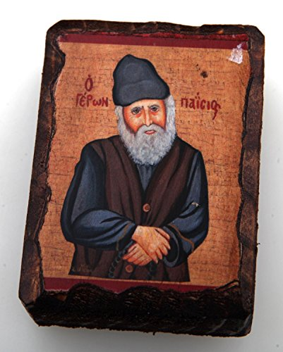 Griechisch-orthodoxes Holz Ikone des Heiligen Elder Paisios, klein