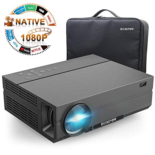 Projector, Hompow 2020 Upgraded Native 1080P Video Projector 5500Lux 80,000 Hours Led for PPT Business Presentations Home Theater Compatible with TV Stick/HDMI/VGA/USB/TV Box/Laptop/DVD/PS4