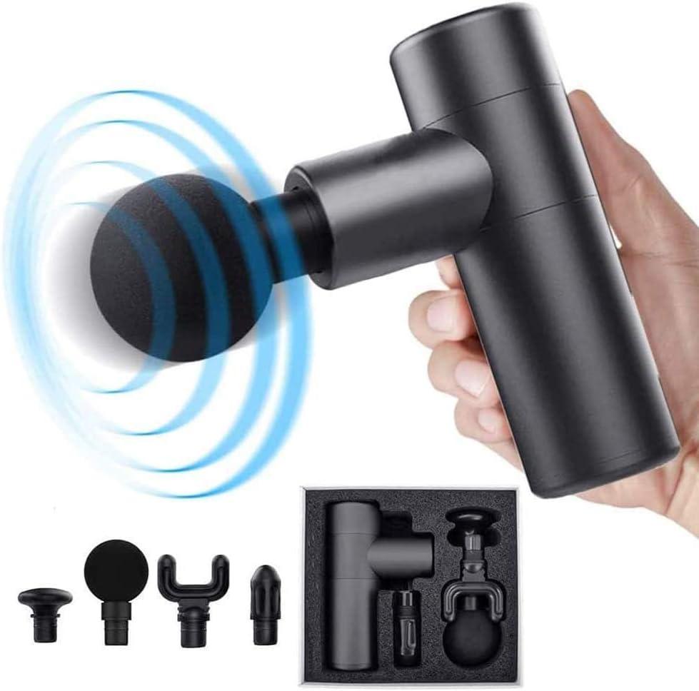 Masajeador de mano, pistola de masaje personal portátil 4 velocidades modos opcionales con 4 cabezas para la relación muscular y eliminar el dolor. Colores aleatorios