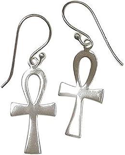 Sterling Silver Ankh Cross Dangling Earrings – Large Egyptian Dangle Earrings – 925 Silver Gothic Cross