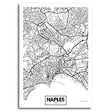 QQWER Berühmter Stadtplan Italien Neapel Druck Leinwand