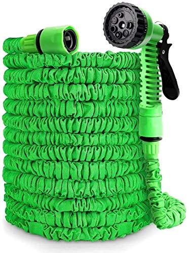 Ohuhu Flexibler Gartenschlauch, 15m/50ft Ausziehbarer Schlauch mit 8-Phasen-Düse, Flexibler Gartenschlauch ausgedehnt, Wasserschlauch Flexibel, Bewässerung Gartenarbeit Autowäsche