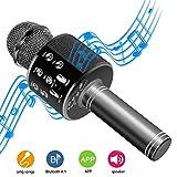 DAMIGRAM Bluetooth Karaoke Micrófono, Portátil Inalámbrica Micrófono y Altavoz del Karaoke de Bluetooth de 4,1 parlantes, para el Hogar KTV, Conectando con iOS, Sistema Android y Tabletas (Black)
