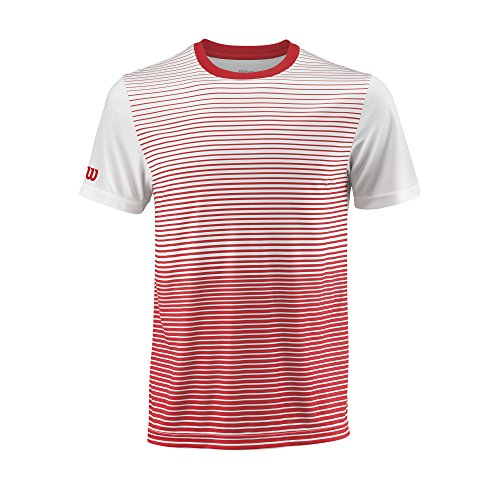 Wilson Homme T-Shirt de Tennis à Rayures, M TEAM STRIPED CREW, Polyester, Rouge (Wilson Red)/Blanc, Taille M, WRA769704