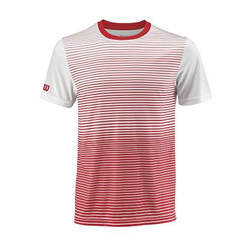 Wilson Herren M Team Striped Crew Tennis-Kurzarmshirt, Rot Red/Weiß, L