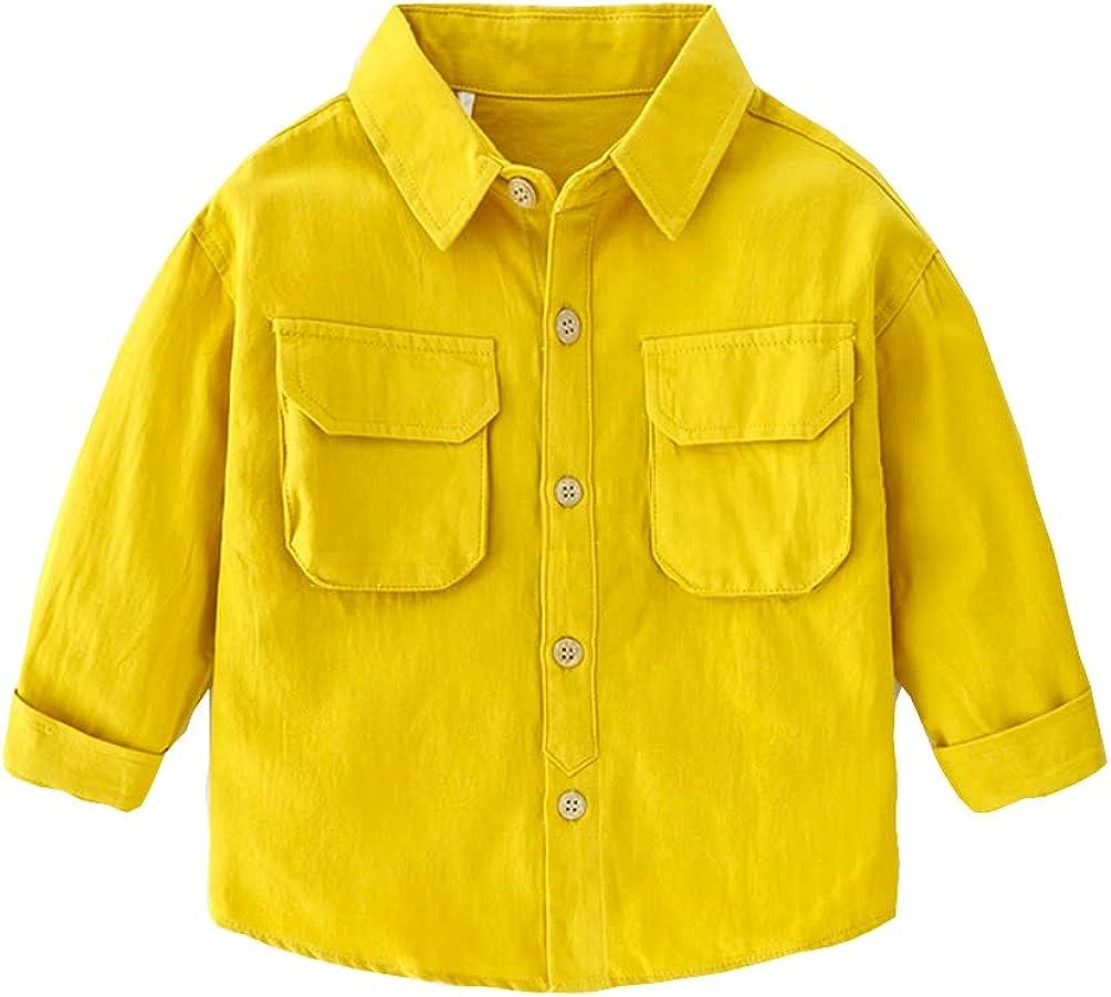 Vivobiniya Toddler boy Long Sleeve Button-Down Shirts Kids Solid Dress Shirts 3-7t