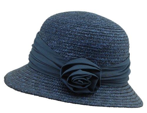 Seeberger Damen Damenstrohhut Sonnenhut, Blau (Tinte 68), Medium (Herstellergröße: Orig)