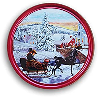 Christmas Holiday Butter Cookies Tin (Romantic Sleigh Ride)