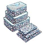 6 Set de Organizador de Equipaje, Impermeable Organizador de Maleta Bolsa para Ropa Sucia de Viaje, Material Nylon(Blue Flower)