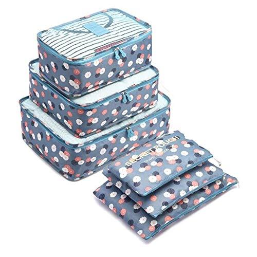 6 Set Kleidertaschen - 3 Packwürfel + 3 Taschen - Perfekter Reisegepäck-Organizer(Blue Flower)