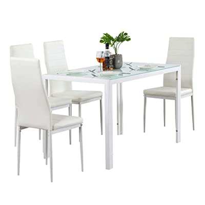 5 Piece Dining Set GlassTable and 4 Leather Cha...