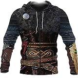 LRKZ - Sudadera con capucha unisex estampada 3D digital Viking God of War Armure con bolsillos grandes, talla grande