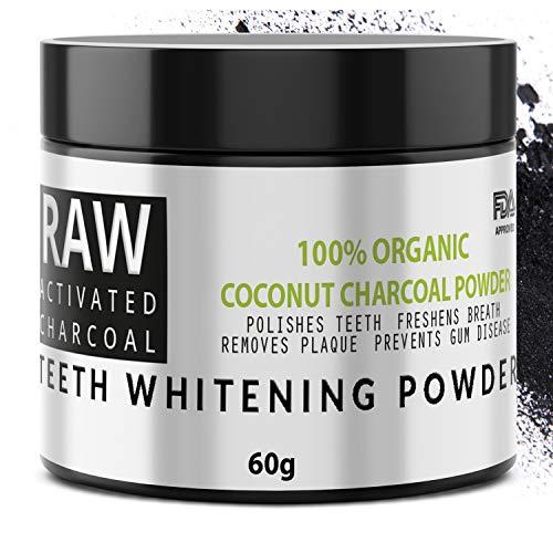QVENE Blanqueador Dental - Carbon Activado de Coco - 100% Organico - Efectivo para Blanqueamiento de Dientes - Quita Manchas y Placa de los Dientes - (60g)