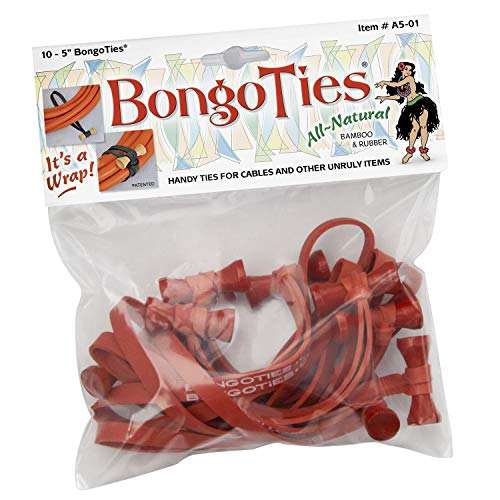 BongoTies ALL RED Bongo Ties A5-01-R ~ 10 Pack ~ HANDY TIES FOR CABLES AND OTHER UNRULY ITEMS