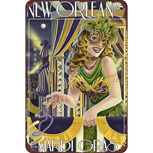 Vintage Tin Poster New Orleans, Louisiana - Mardi Gras Metal Tin Sign 8x12 Inch Retro Home Bar Restaurant Garage Garden Wall Decor New