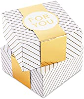 "Hallmark 8"" Small Gift Box Set with Wrap Bands (2-Pack: Gold and White Stripes, ""For You"") for Christmas, Hanukkah,..."