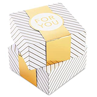 """Hallmark 8"""" Medium Gift Box Set with Wrap Bands (2-Pack: Gold and White Stripes, """"For You"""") for Christmas, Hanukkah, Weddings, Valentine's Day, Birthdays (B08CFZF1F6) 