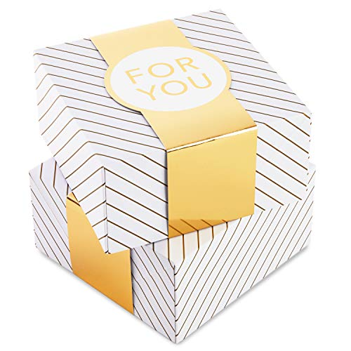 Hallmark 8' Small Gift Box Set with Wrap Bands (2-Pack: Gold and White Stripes, 'For You') for Christmas, Hanukkah, Weddings, Valentine's Day, Birthdays