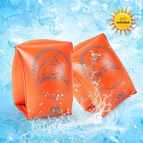 Schwimmflügel kinder, infinitoo Schwimmhilfe, Schwimmreifen Schwimmen Armbands für Kinder und Kleinkinder ab 3 - 8 Jahre, 15-30kg, Schwimmscheiben mit Delphin Design für Schwimmbad, Pool, Strand et