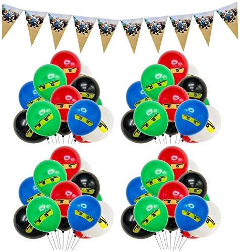 smileh Geburtstag Dekoration Ninjago Luftballons Ninjago Banner Partyzubehör für Kinder Party Geburtstagsballons