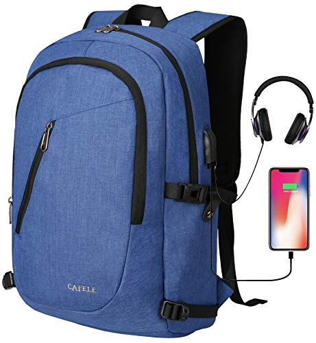 Backpack,Shool backpack for Teenagers Students,College Bookbag Water Repellent,Slim Business Laptop Backpack for Work Travel Men Women w/USB Charging Port Fits15.6 Inch Computer Notebook (Sky Blue)