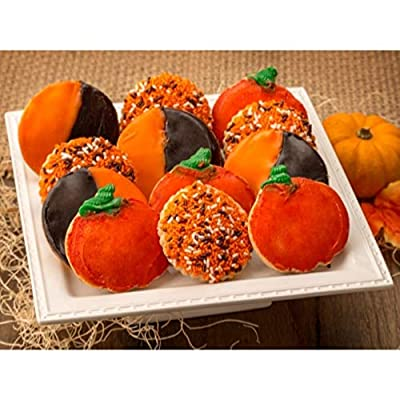 Frosted Sugar Cookie Combo Assortment of Orange Black and White Treats 12 Count Great Gift for Autumn, Thanksgiving, Halloween Send for Family, Friends, Kids, Him & Her By Dulcet Gift Baskets