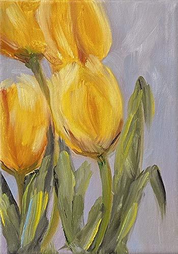 Bild Tulpen Frühling Blumenbild Kunst Original Ölmalerei Gemälde 13x18 cm