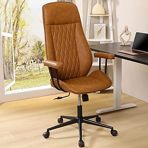 DICTAC Leder Bürostuhl Braun Schreibtischstuhl mit Abnehmbarer Computerstuhl hoher rückenlehne Chefsessel Ergonomischer Office Stuhl Höhenverstellbarer Arbeitsstuhl Drehstuhl, Belastic bis 180kg