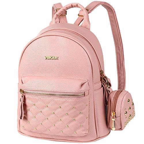 Vbiger Rucksack Damen PU Leder Elegant Rucksack Mädchen für Frauen Rosa