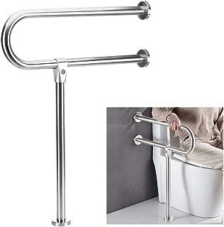 Handicap Grab Bars for Bathroom Toilet Safety Bars Showers Handicap Rails Stainless Steel Grab Bar for Disabled Elderly Bathroom Handrail Wall Mount Floor Support Assist Bar Handicapped Hand Rail
