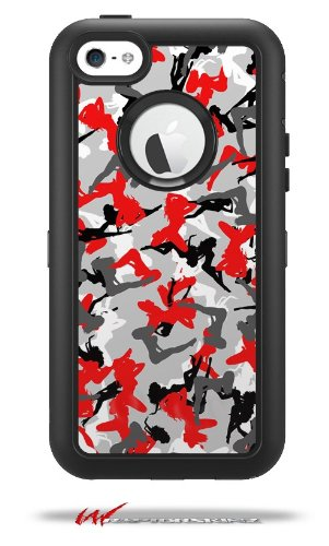 Sexy Girl Silhouette Camo Red - Decal Style Vinyl Skin fits Otterbox Defender iPhone 5C Case (CASE Sold Separately)