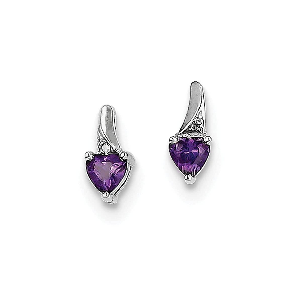 Best Designer Jewelry Sterling Silver Rhodium-plated Amethyst Diamond Earrings
