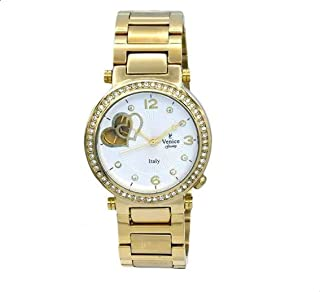 Venice V8120-IPG-G Stainless Steel Stone Embellished Bezel Round Analog Watch for Women - Gold