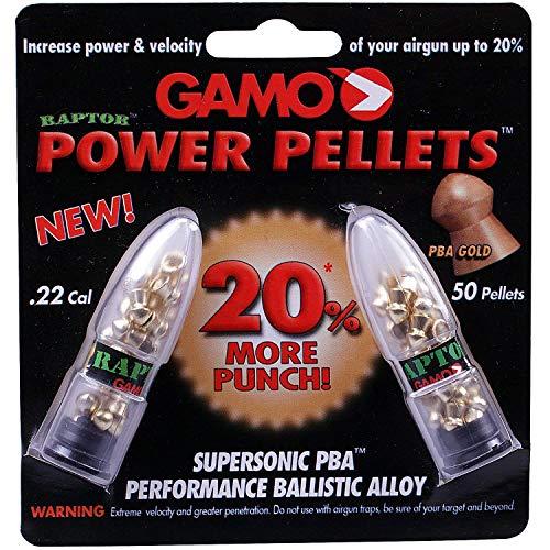 Gamo Power Raptor .22 5.5mm Lead-Free Airgun Rifle Pellets 22 50 Pack Gold Plated PBA